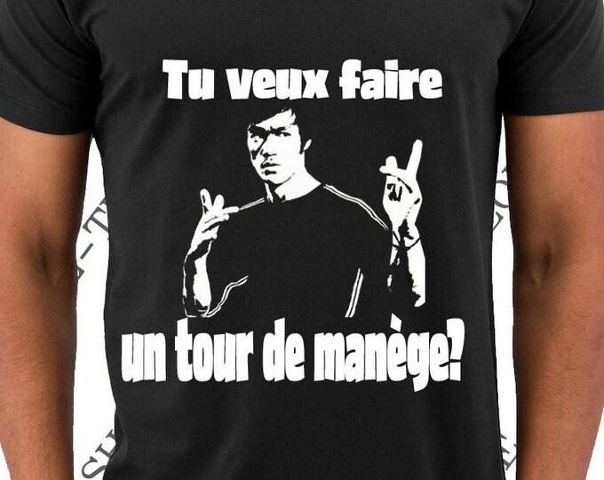 """T-shirt """"Tu veux faire un tour de manège?"""" tee-shirt Bruce Lee idée cadeau noel anniversaire homme."""