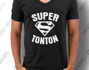 """T-shirt """"SUPER TONTON"""". Cadeau pour oncle drôle une idée original pour super tonton!"""