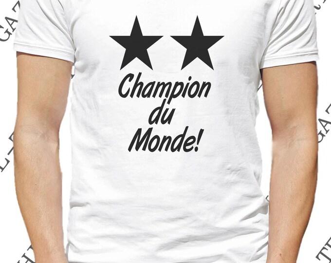 """T-shirt deux étoiles """"2 étoiles champion du monde!"""". Maillot 2 étoiles équipe de France championne du monde!"""
