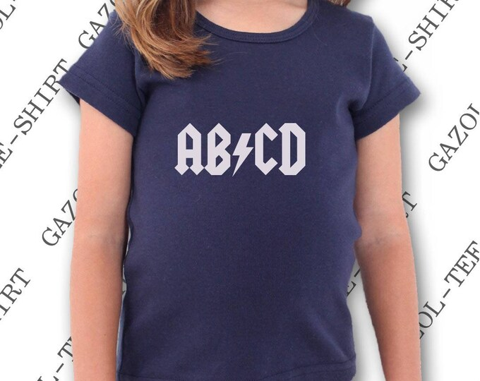 """Tee-shirt enfant garçon ou fille """"ABCD AC/DC."""" T-shirt enfant 100% humour."""