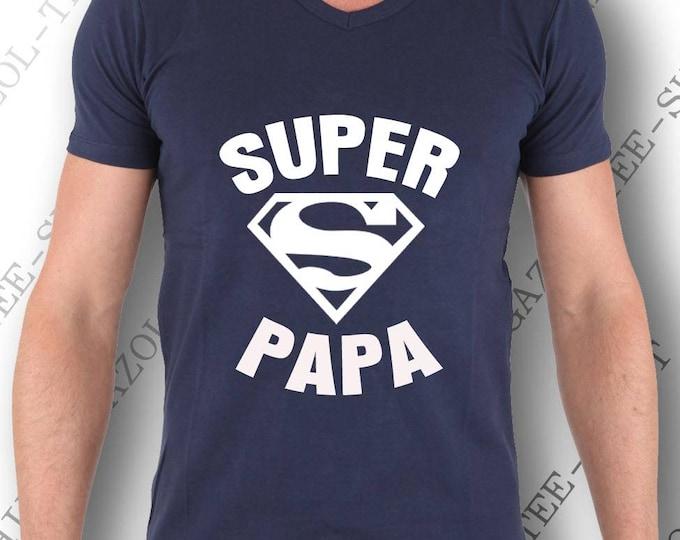 """Tee-shirt idée cadeau papa """"Super Papa"""" pur coton, col V,manche courte. Anniversaire papa et fête des pères."""
