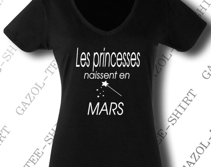 "Tee-shirt ""Les princesses naissent en mars."" idée cadeau anniversaire mars."