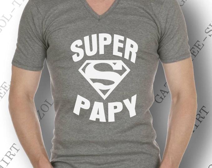"""Tee-shirt  """"SUPER PAPY"""". Idée cadeau drôle  et original pour papy. Offrir un beau cadeau de noël pour papi ou anniversaire pour futur papy."""