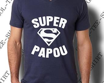 """""""Super Papou."""" Tee-shirt homme 100% coton, col V."""
