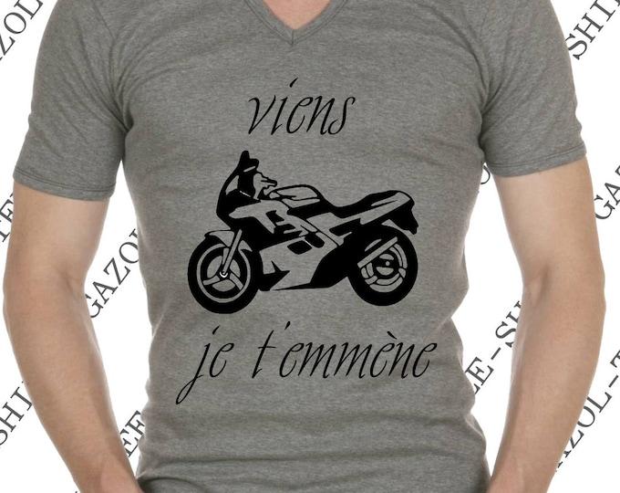 """T-shirt """"Viens je t'emmène"""" Tee-shirt humour idée cadeau motard."""