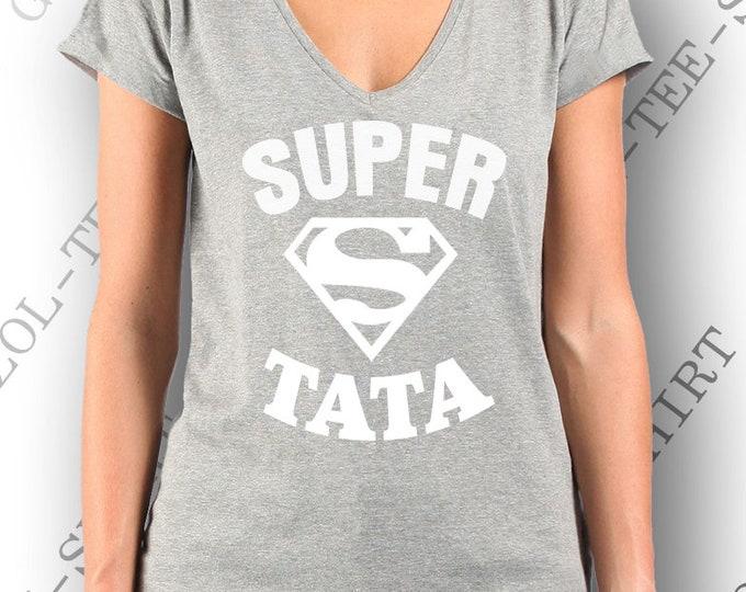 "Idée cadeau tata tante ""Super tata"". T-shirt femme 100% coton."