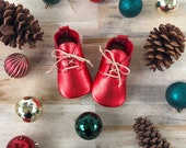 Metallic Red Oxfords - Genuine Leather Toddler Shoes