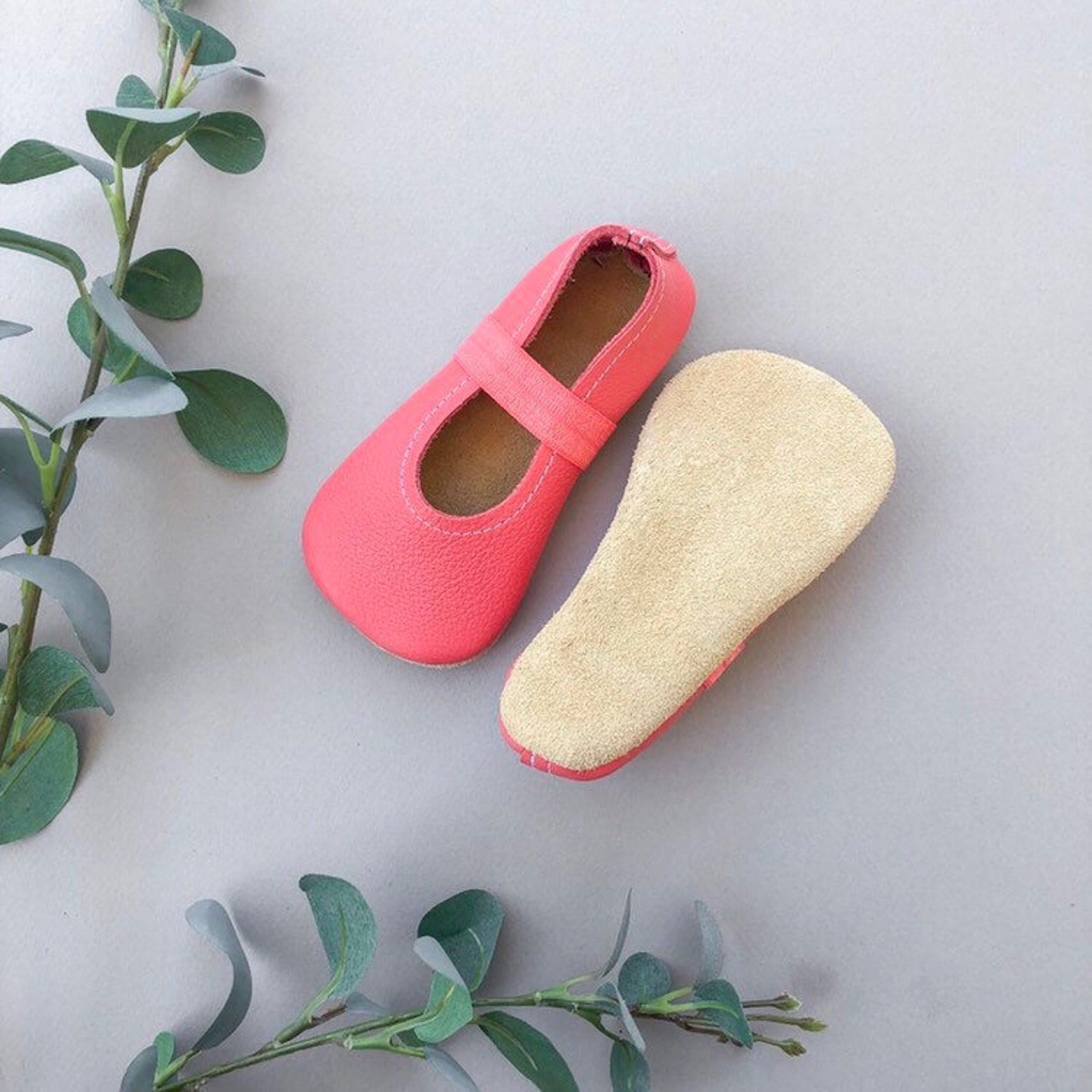 coral ballet flats - pink baby moccasins - genuine leather toddler shoes - spring baby outfit