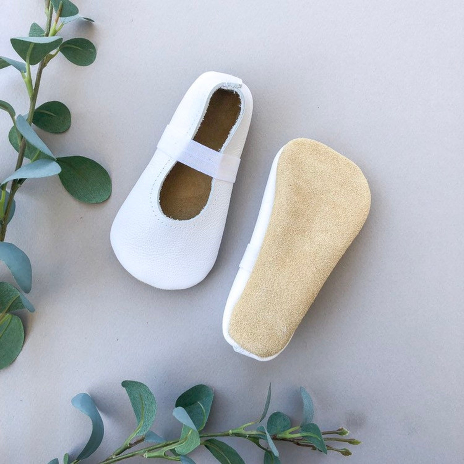white ballet flats - white baby moccasins - genuine leather toddler shoes - spring baby outfit
