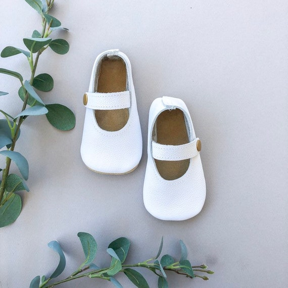 610434ff96015 White Baby Janes - Genuine Leather Toddler Shoes - White Baby Moccasins -  Mocs - Baby Gifts - Christening Outfit - Maryjanes - Crib Shoes