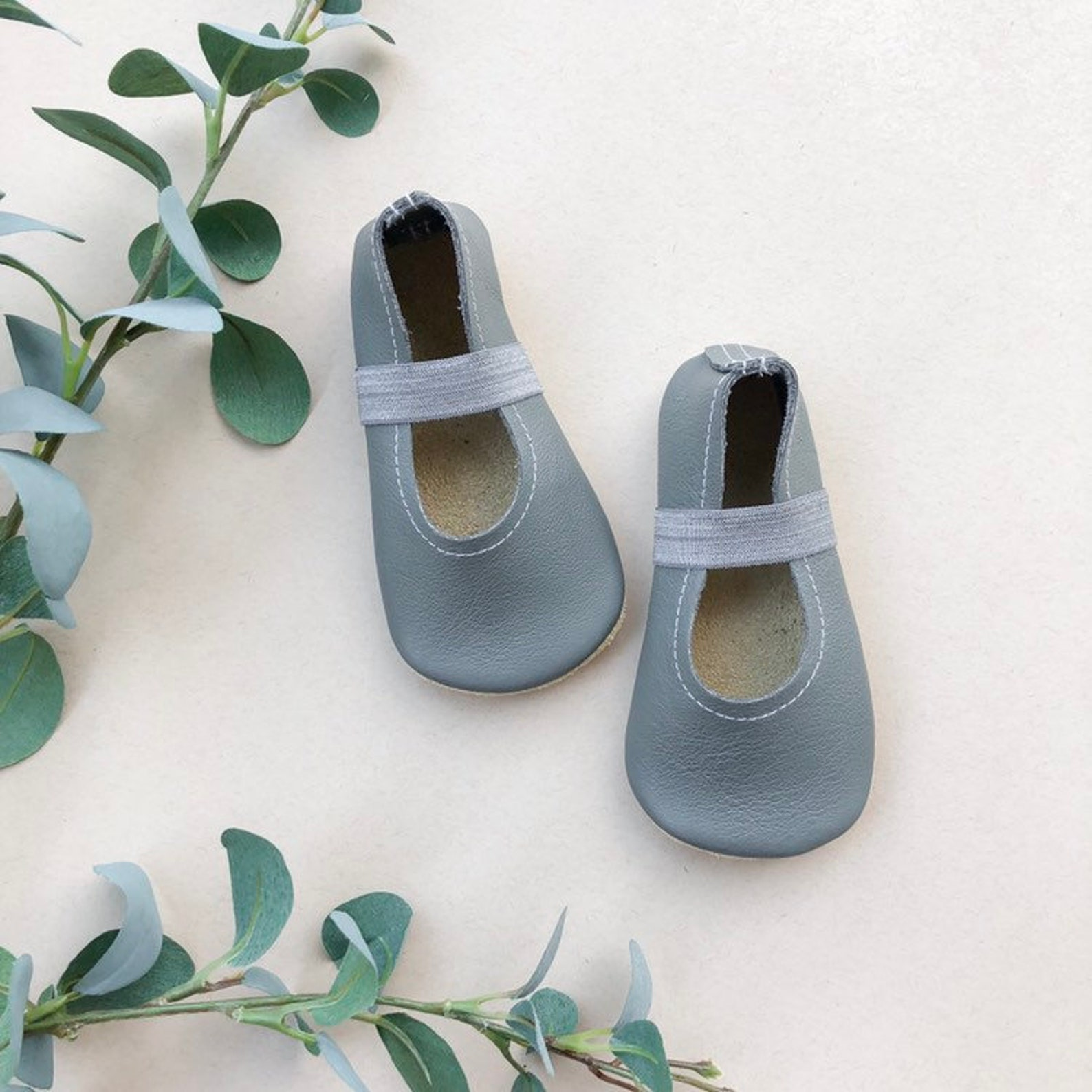 storm gray ballet flats - grey baby moccasins - genuine leather toddler shoes - neutral baby outfit