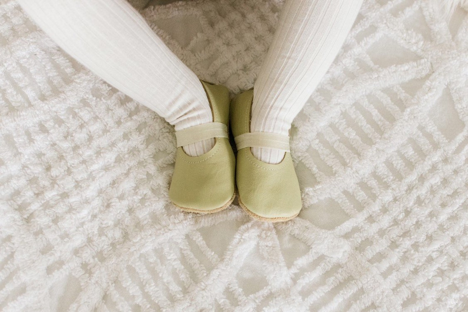 sprout ballet flats - pale green baby moccasins - genuine leather toddler shoes