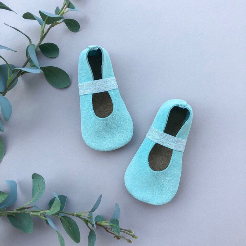 d7117900d19e1 Aqua Suede Ballet Flats - Blue Baby Moccasins - Genuine Leather Toddler  Shoes - Spring Baby Outfit