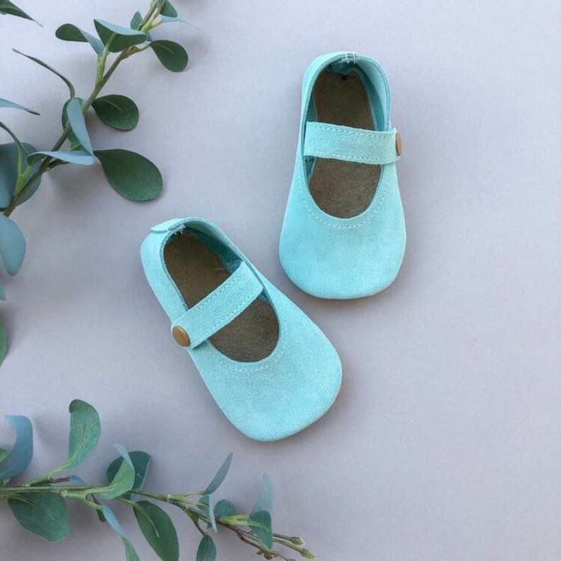 4fcf22cade01a Aqua Suede Baby Janes - Blue Baby Moccasins - Genuine Leather Toddler Shoes