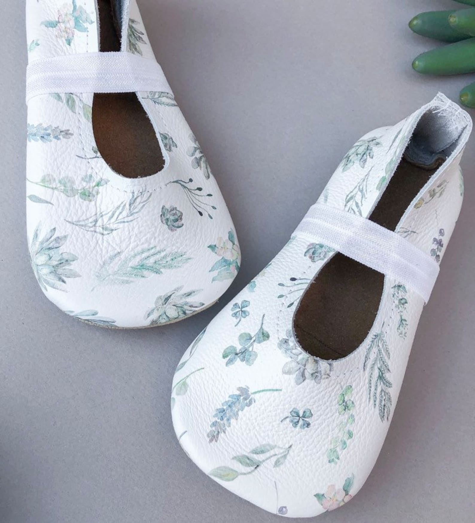 succulents ballet flats - white baby moccasins - genuine leather toddler shoes - boho baby outfit