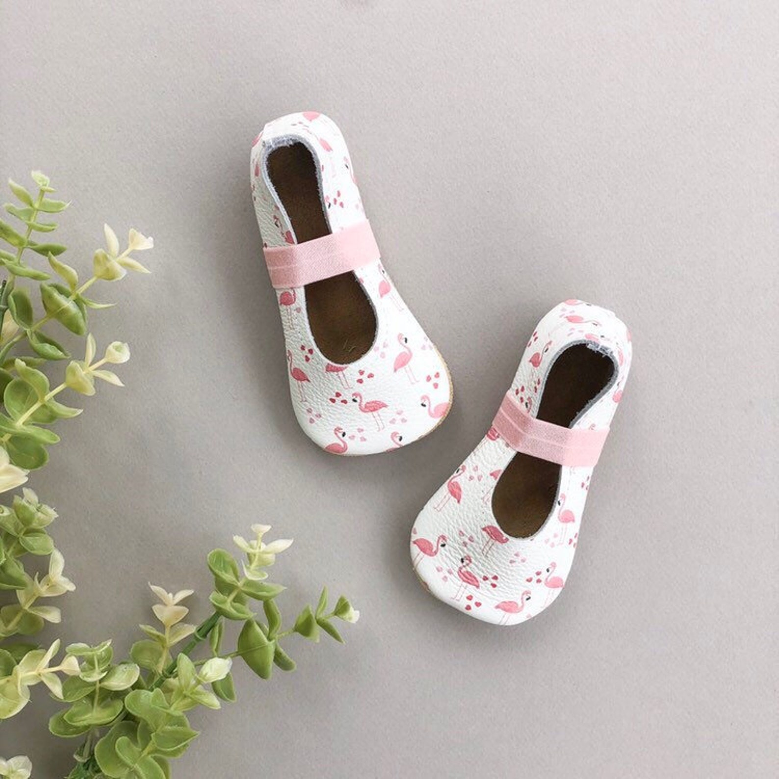 flamingo ballet flats - pink baby moccasins - genuine leather toddler shoes - spring baby outfit