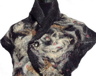 Nebula Felted Scarf, Alpaca Tussah Silk, Felt Collar, Natural Black Cream White, Shoulders Wrap, Art Scarf , Fine accessory