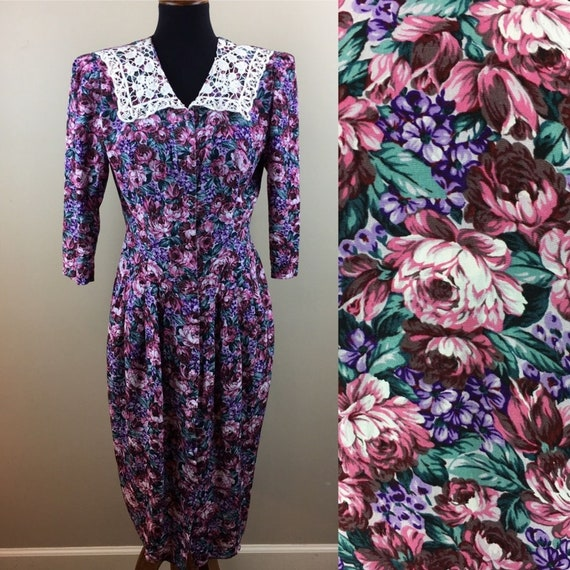 Vintage 80's floral puff sleeve dress size M
