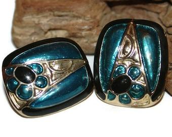Vintage Blue Enamel Earrings, Vintage Blue Enamel Jewelry, Fancy Clip on Earrings, Retro Earrings, Retro Jewelry, Gift for Her