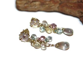 Spring Earrings, Floral Earrings, Spring Jewelry, Floral Jewelry, Transparent Pastel Earrings, Vintage Earrings, Dangle Earrings, Gift