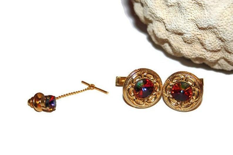 f0543a4aa2e4 Rivoli Cuff Links and Tie Tack Mad Men Vintage Mens Jewelry | Etsy