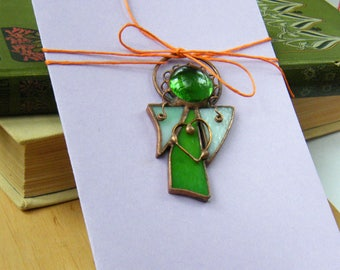 Mothers Day gifts/Angel Card/Angel Greeting card/Green Angel/Angel Ornament/with heart/Angel Pendant/gifts for luck/Witrazka