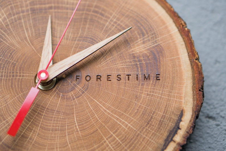 Horloge de tranche de bois, horloge de ferme, horloge de mur rustique, horloge en bois