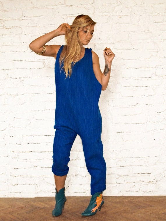 KnitOnesieHysteric GlamourPlus Size Jumpsuit Oversized JumpsuitLoose Maxi JumpsuitWool PantsKnit ClothingBoho JumpsuitAvant Garde