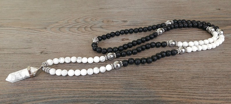 Mala howlite pendant white howlite necklace of black gemstones