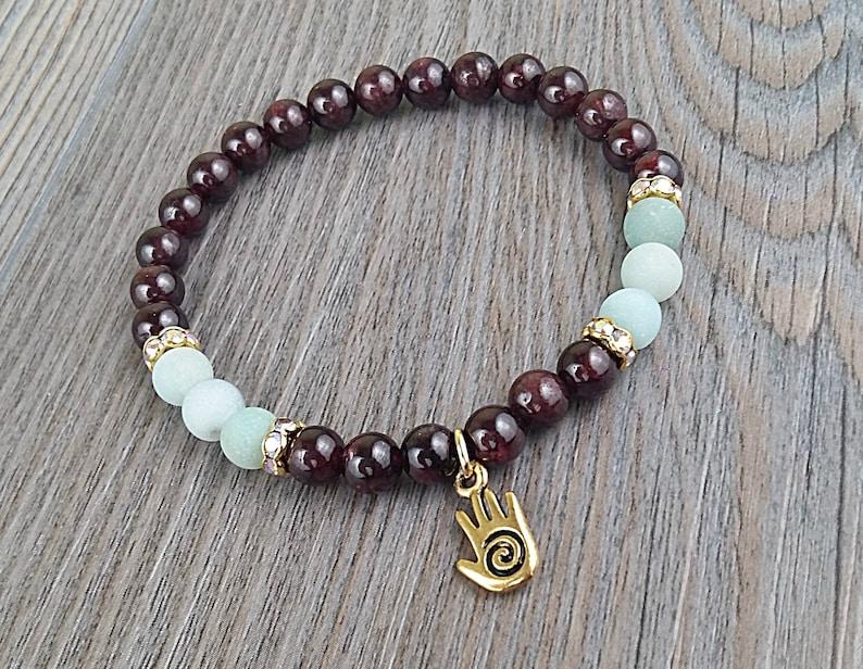 depolished amazonite gemstones Bracelet of mala Hamsa hand charm Tierracast Garnet