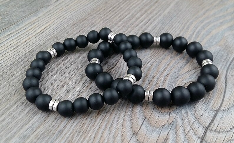 Onyx unisex bracelet fine stones 8 ou 10mm