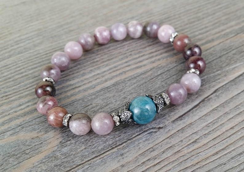 Bracelet of fine stones jasper spot purple tourmaline multicolor elba\u00efte of 8mm and Apatite 10mm