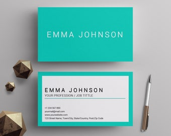 Minimalist business cards template diy teal and white custom business cards template teal and white center printable minimalist business cards premade business card design mac and pc ms word reheart Gallery