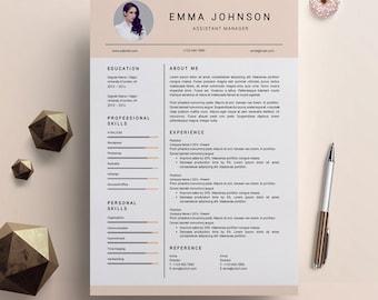 Creative Resume Template Word Design Modern Cover Letter Nurse PC Mac Emma Johnson