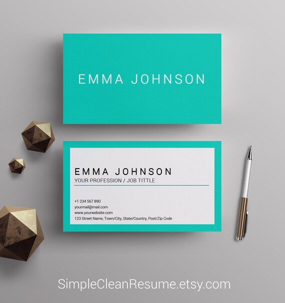 Custom Business Cards Template Teal And White Center Etsy