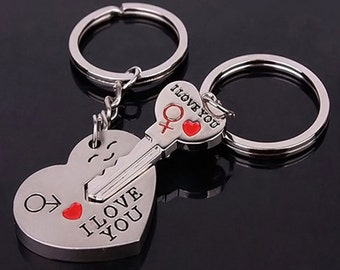 "Heart and Key ""I Love You"" Keychains for Valentines Day"