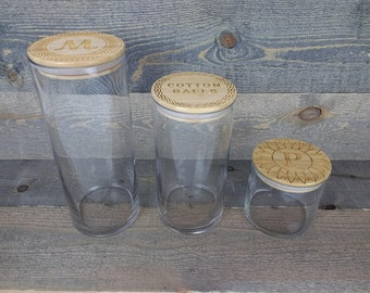 Set of 3 Personalized Bamboo/Glass Jars - Many Designs Available - Optional Custom Logo/Design