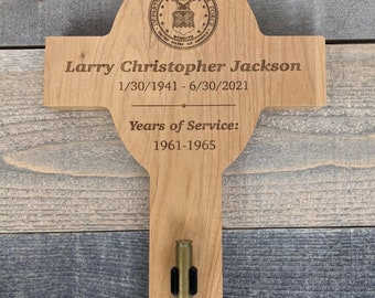 """8"""" X 13.5"""" Red Alder Wood Personalized Military Funeral Memorial Cross - Holds Spent Casing from Funeral Volley"""