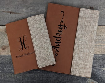 Personalized Burlap/Leatherette Notepad Portfolio Padfolio - Add Your Custom Logo