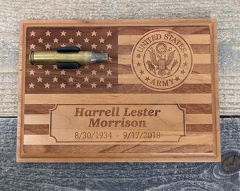 5 x 7 Cherry Personalized Military Funeral Memorial Plaque - Holds Spent Casing from Funeral Volley