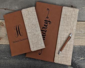 Personalized Burlap/Leatherette Portfolio with Matching Pen - Add Your Custom Logo