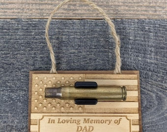 Personalized Military Funeral Memorial Wood Ornament - Holds Spent Casing from Funeral Volley