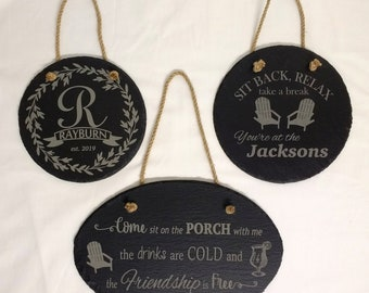Personalized Slate Sign - Round or Oval - Add Your Custom Logo/Design
