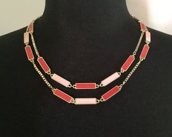 Vintage Pink & Cherry Enamel Station Necklace