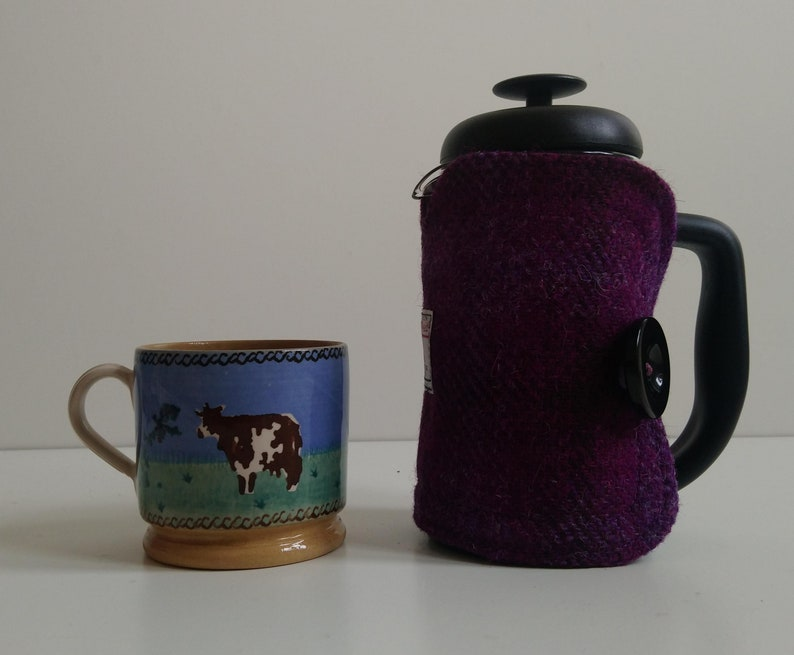 Small Harris Tweed Cafetiere Cover Purple image 0