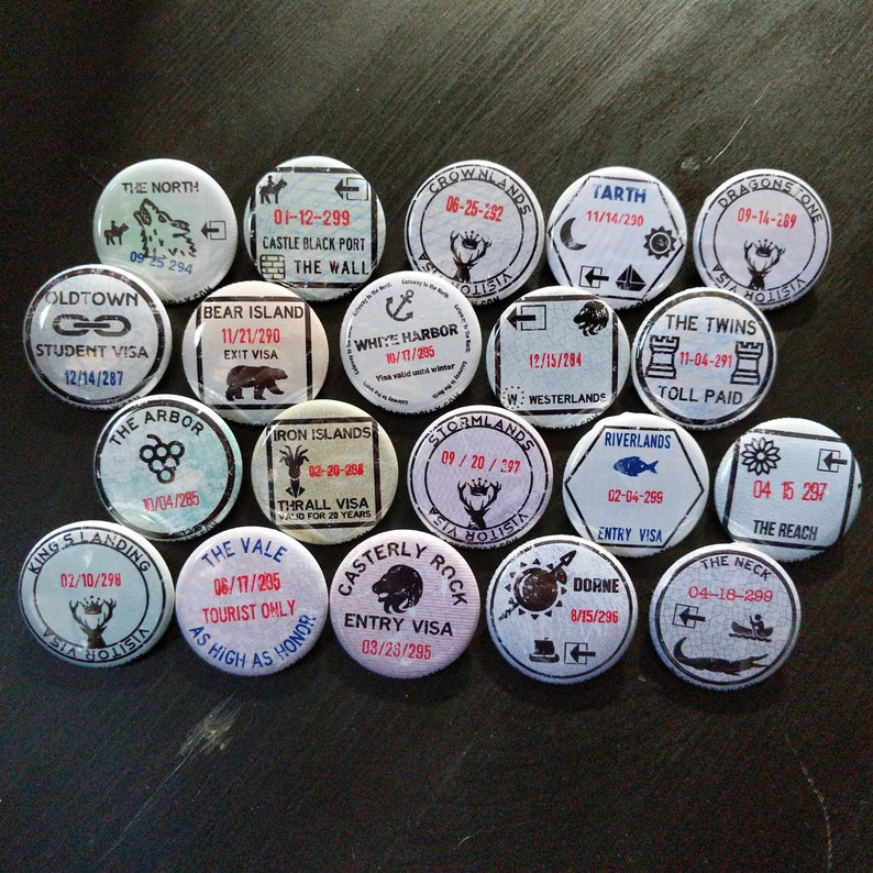 Westeros passport stamp buttons 1.25 / 32mm pin back image 0
