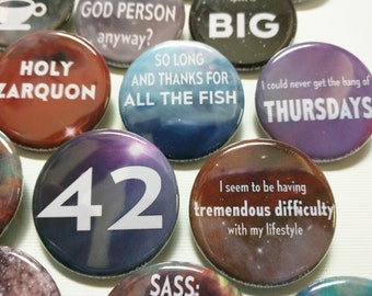 """Hitchhiker's Guide to the Galaxy buttons 1.25"""" / 32mm pin back button/badge Don't Panic, 42 and more"""