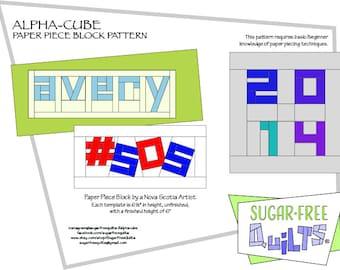 Alpha Cube Paper Piece Pattern