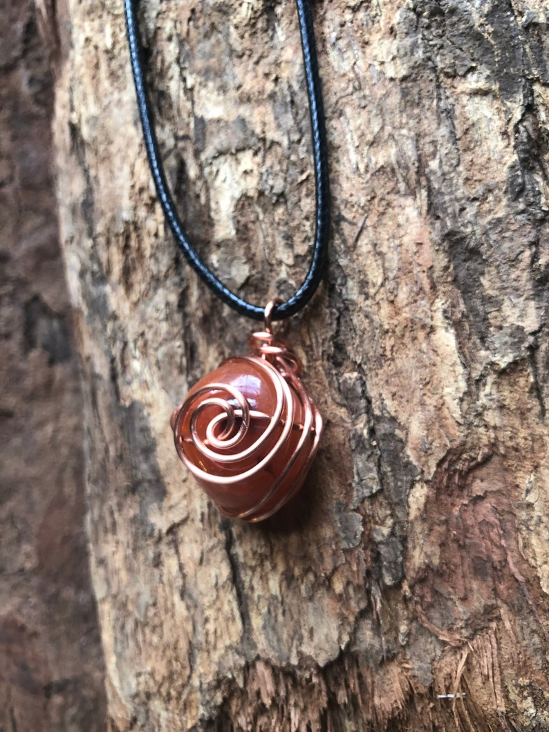 Creativity and Hope Copper Wire Wrapped Carnelian Eye of The Tiger Pendant Vitality