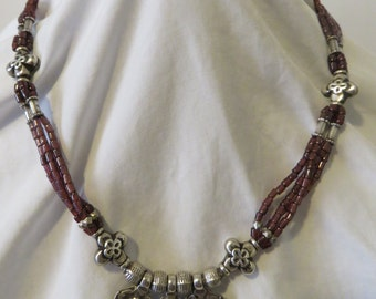 "Hand Beaded Natural Garnet & Sterling Silver 18.5"" Necklace."